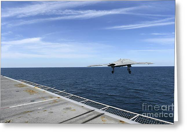 X-plane Greeting Cards - An X-47b Unmanned Combat Air System Greeting Card by Stocktrek Images