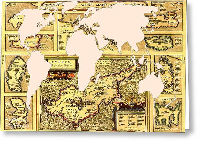 Old Map Digital Greeting Cards - Ancient Cyprus and World Map  Greeting Card by Augusta Stylianou