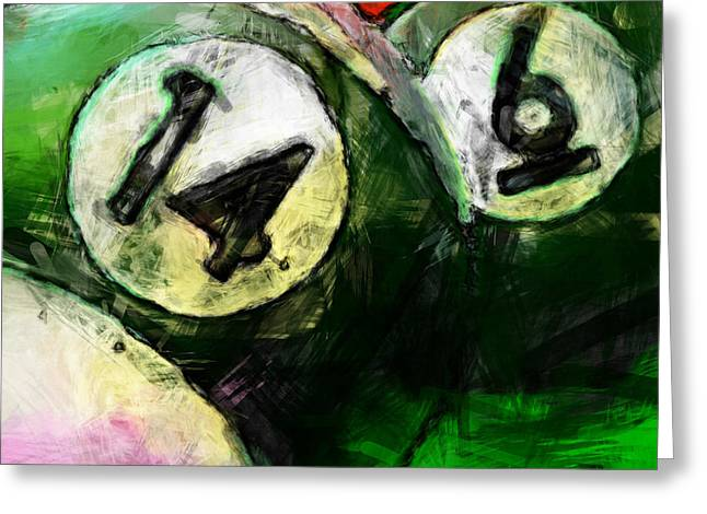 Game 6 Greeting Cards - 14 and 6 Billiards Abstract Greeting Card by David G Paul