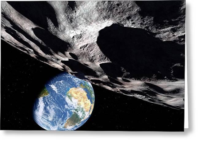 Asteroid Approaching Earth Greeting Card by Detlev Van Ravenswaay