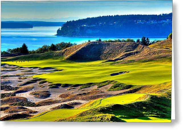 Chambers Bay Golf Course Greeting Cards - #14 at Chambers Bay Golf Course - Location of the 2015 U.S. Open Tournament Greeting Card by David Patterson