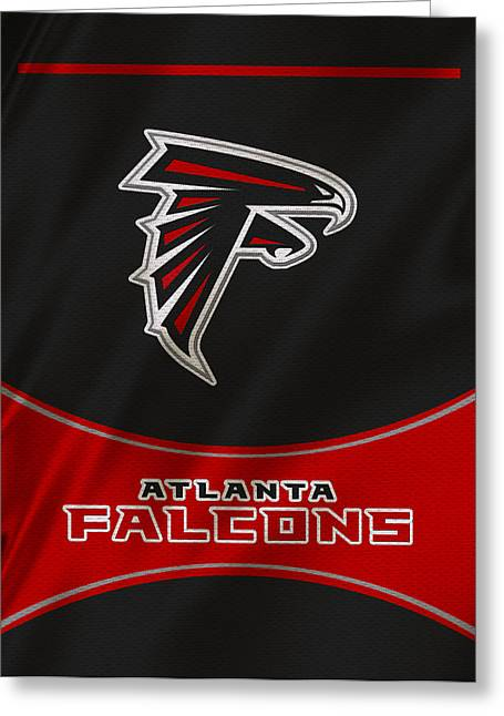 Team Greeting Cards - Atlanta Falcons Uniform Greeting Card by Joe Hamilton