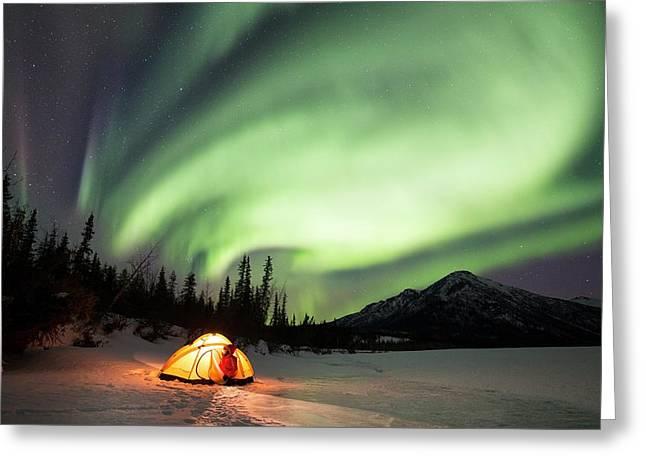 Aurora Borealis In Alaska Greeting Card by Chris Madeley