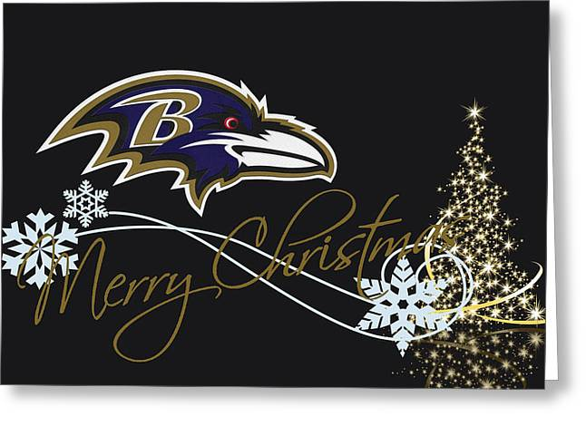 Christmas Greeting Greeting Cards - Baltimore Ravens Greeting Card by Joe Hamilton