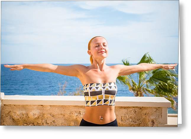 People Greeting Cards - Beautiful woman practicing yoga Greeting Card by Nikita Buida