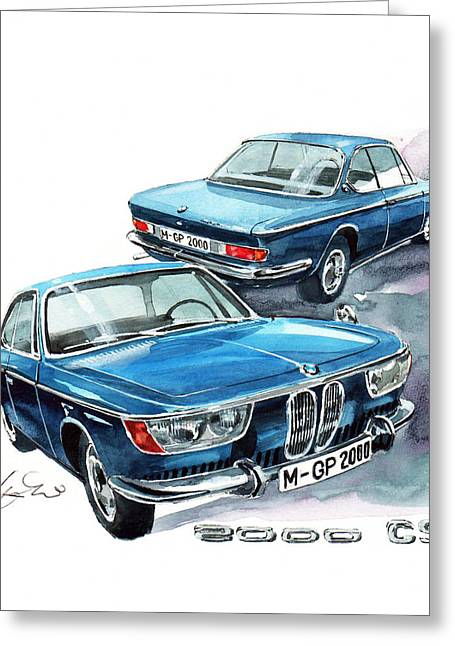 Cs Greeting Cards - Bmw 2000 Cs Greeting Card by Yoshiharu Miyakawa