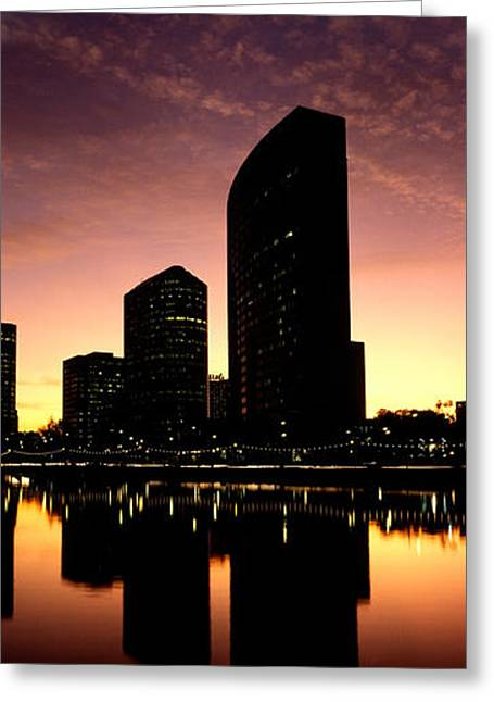 Merritt Greeting Cards - Buildings At The Waterfront, Lake Greeting Card by Panoramic Images