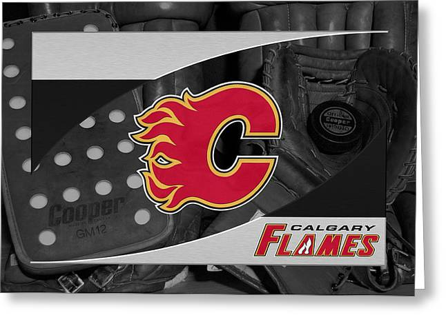 Skates Greeting Cards - Calgary Flames Greeting Card by Joe Hamilton