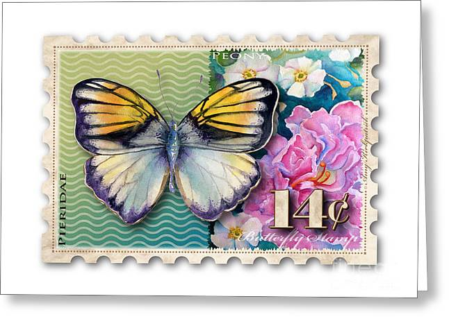 14 Cent Butterfly Stamp Greeting Card by Amy Kirkpatrick