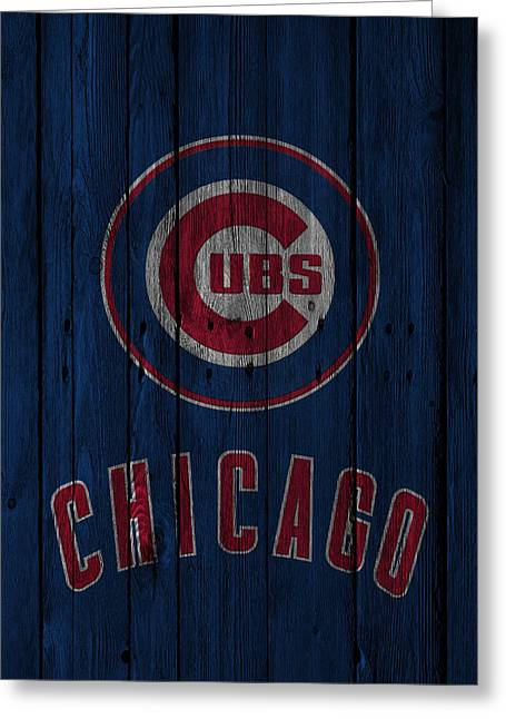Glove Greeting Cards - Chicago Cubs Greeting Card by Joe Hamilton