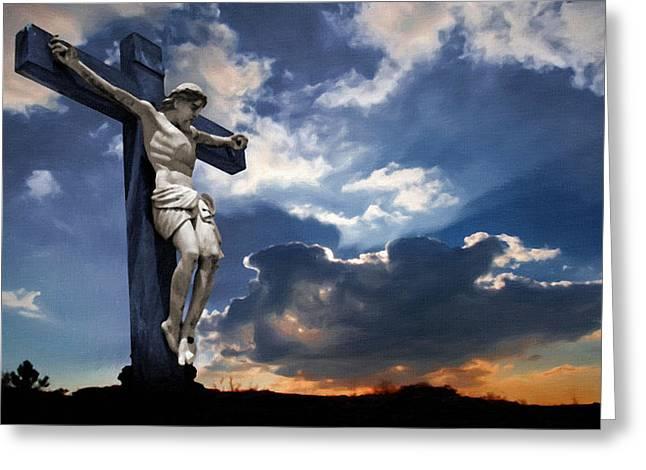 Catholic Art Greeting Cards - Crucifixion Greeting Card by Victor Gladkiy