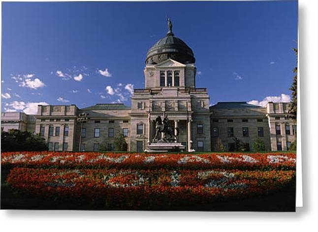 Capitol Flowers Greeting Cards - Facade Of A Government Building Greeting Card by Panoramic Images