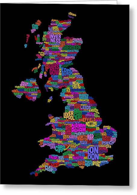 Uk Map Greeting Cards - Great Britain UK City Text Map Greeting Card by Michael Tompsett