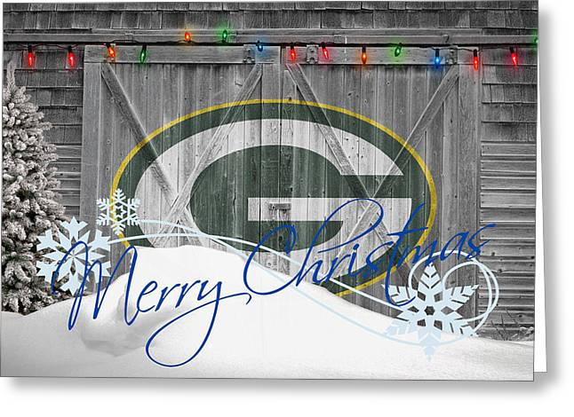 Santa Greeting Cards - Green Bay Packers Greeting Card by Joe Hamilton