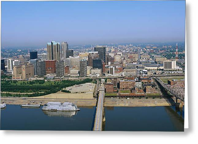 Mississippi River Scene Greeting Cards - High Angle View Of Buildings In A City Greeting Card by Panoramic Images