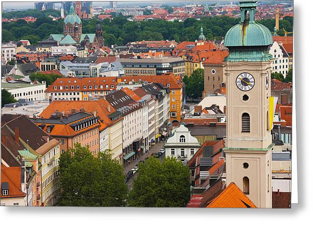 Bavaria Greeting Cards - High Angle View Of Buildings Greeting Card by Panoramic Images