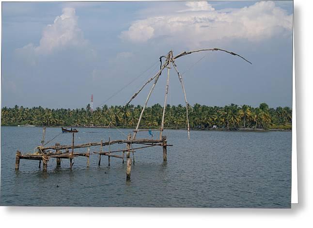 Kerala Backwater Greeting Card by Carol Ailles