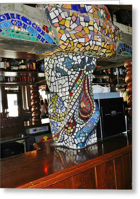 Mosaic Ceramics Greeting Cards - Mosaic Pillar Greeting Card by Charles Lucas