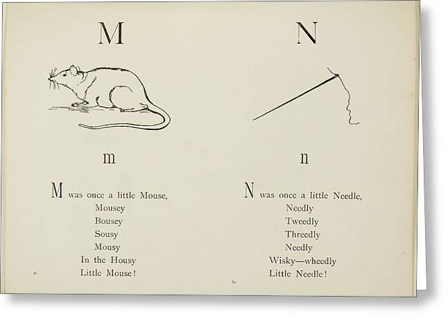 Nonsense Alphabets By Edward Lear Greeting Card by British Library