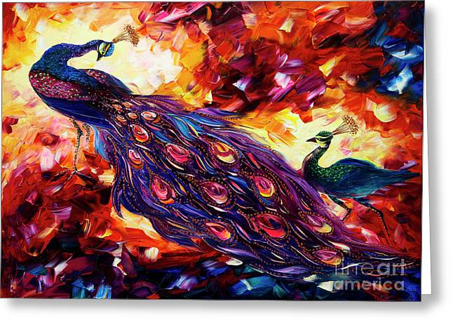Giclee On Canvas Greeting Cards - Peacock Greeting Card by Willson Lau