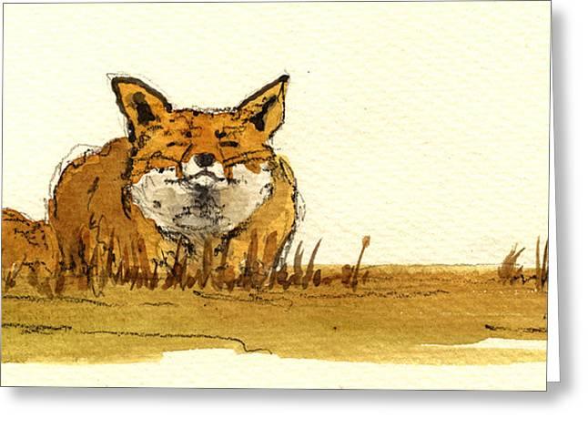 Jb Greeting Cards - Red Fox Greeting Card by Juan  Bosco