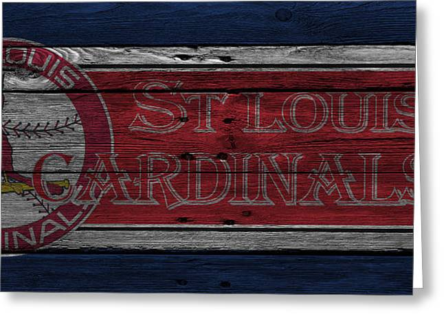 Glove Greeting Cards - St Louis Cardinals Greeting Card by Joe Hamilton
