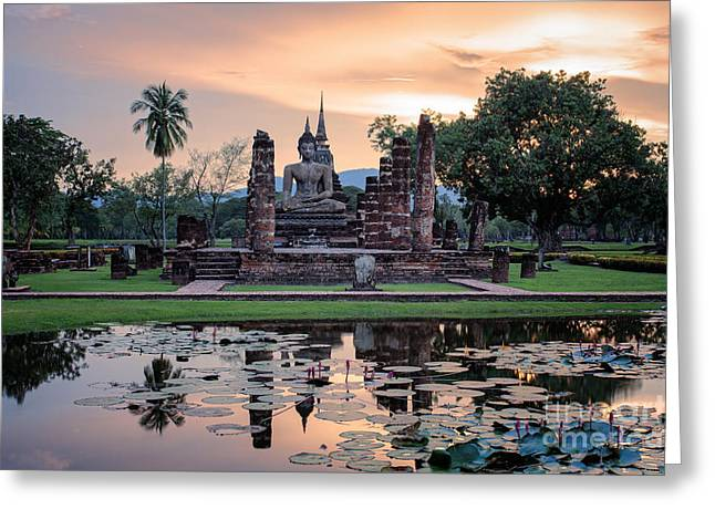 Reflex Greeting Cards - Sukhothai historical park Greeting Card by Anek Suwannaphoom