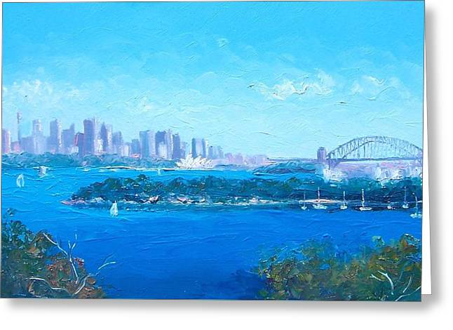 Sydney Harbour Greeting Cards - Sydney Harbour and the Opera House by Jan Matson Greeting Card by Jan Matson