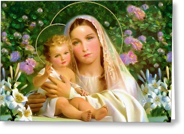 Religious Art Greeting Cards - The Virgin And Child Greeting Card by Victor Gladkiy