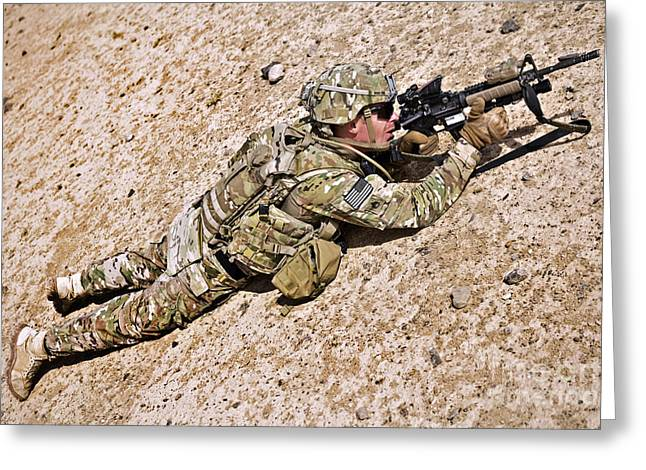 Scrutiny Greeting Cards - U.s. Army Soldier Provides Security Greeting Card by Stocktrek Images
