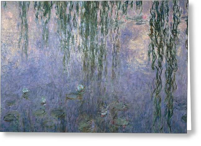 Garden; Water; Falling; Flower; Pond Greeting Cards - Water Lilies Greeting Card by Claude Monet