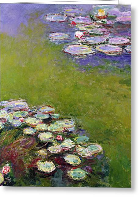 Monet Reproduction Greeting Cards - Waterlilies Greeting Card by Claude Monet