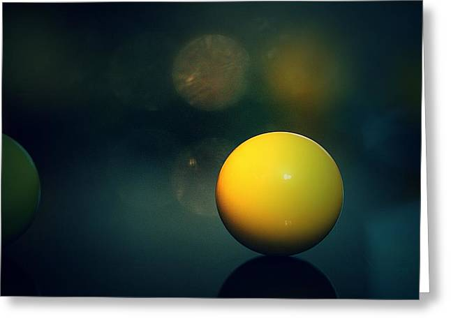 Marble Eye Greeting Cards - Yellow Marbel33 Greeting Card by Michael James Greene