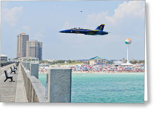 F-18 Greeting Cards - Blue Angels on Pensacola Beach Greeting Card by Specialist 2nd Class Andrea Perez