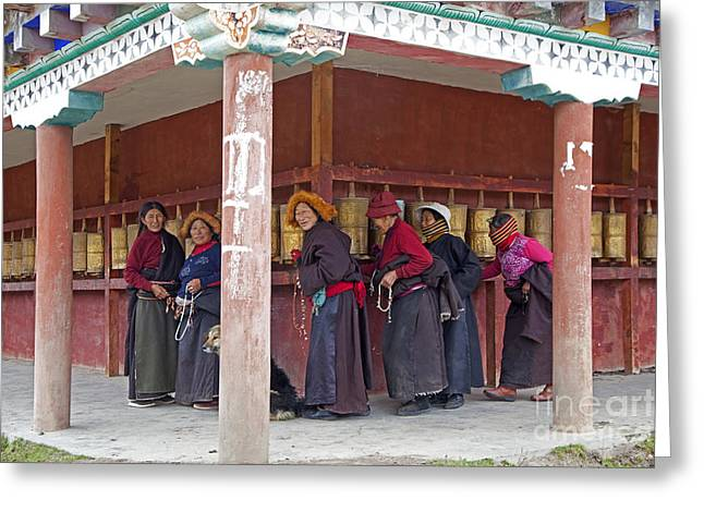 Tibetan Woman Greeting Cards - 141220p198 Greeting Card by Arterra Picture Library