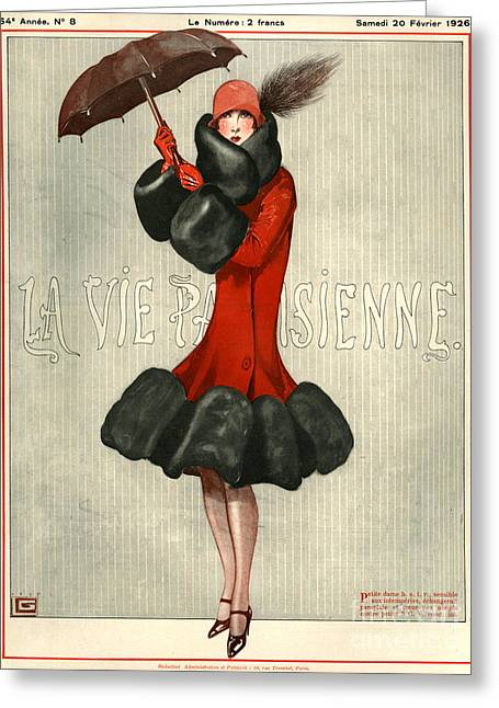 Umbrella Drawings Greeting Cards - 1920s France La Vie Parisienne Magazine Greeting Card by The Advertising Archives