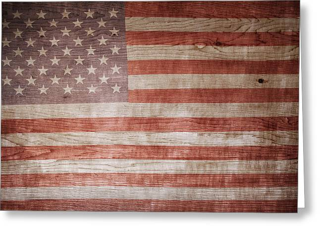 Wooden Fence Greeting Cards - American flag Greeting Card by Les Cunliffe
