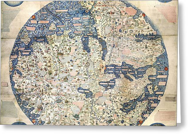 Mauro Greeting Cards - World Map by Fra Mauro - 1458 Greeting Card by Pablo Romero