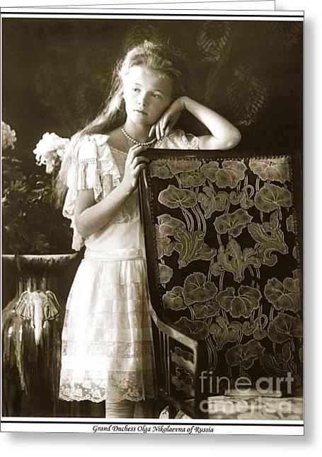 Saint Olga Greeting Cards - 147. Grand Duchess Olga Nikolaevna of Russia Print Greeting Card by Royal Portraits