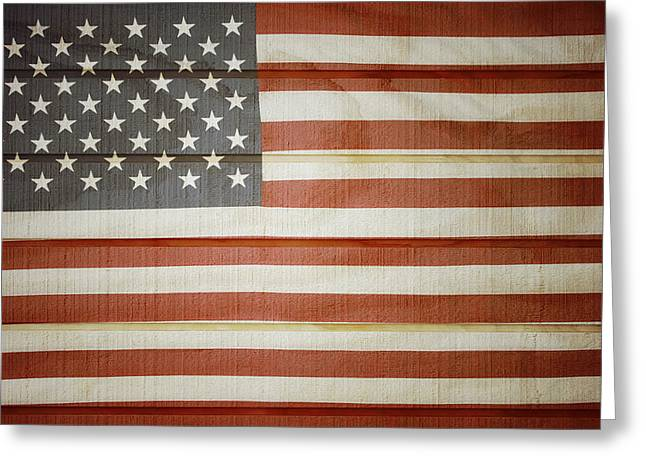 Old Wooden Fence Greeting Cards - American flag Greeting Card by Les Cunliffe