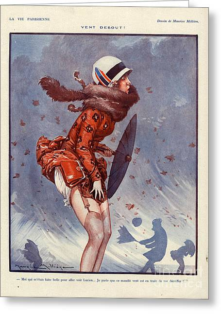 Windy Drawings Greeting Cards - 1920s France La Vie Parisienne Magazine Greeting Card by The Advertising Archives
