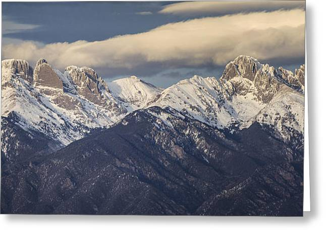 Snowy Evening Greeting Cards - 14er Panorama 2 Greeting Card by Aaron Spong