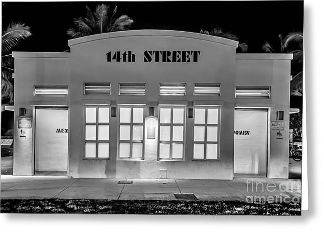 Latrine Greeting Cards - 14th Street Art Deco Toilet Block SOBE Miami - Black and White Greeting Card by Ian Monk