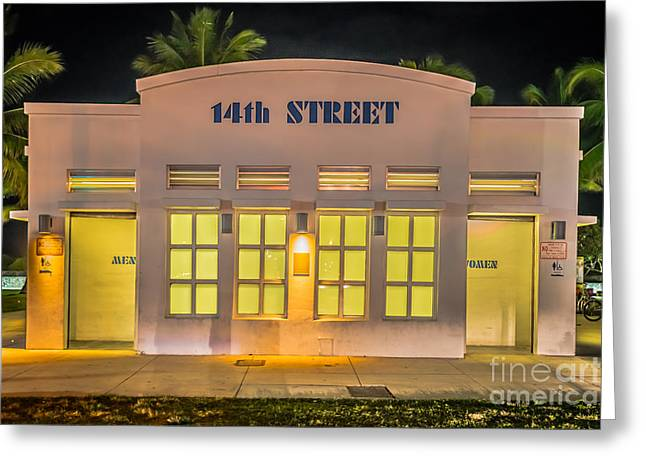 1930s Greeting Cards - 14th Street Art Deco Toilet Block SOBE Miami Greeting Card by Ian Monk
