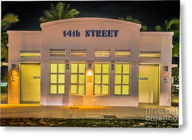 Latrine Greeting Cards - 14th Street Art Deco Toilet Block SOBE Miami Greeting Card by Ian Monk