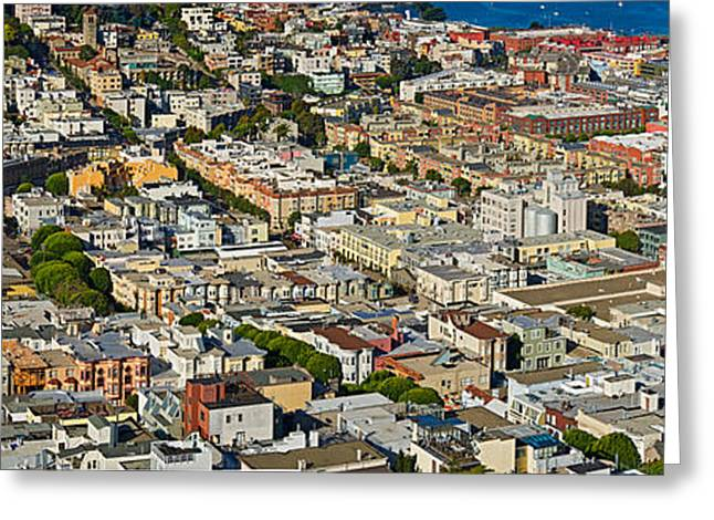 Fishermen Wharf Greeting Cards - Aerial View Of Buildings In A City Greeting Card by Panoramic Images