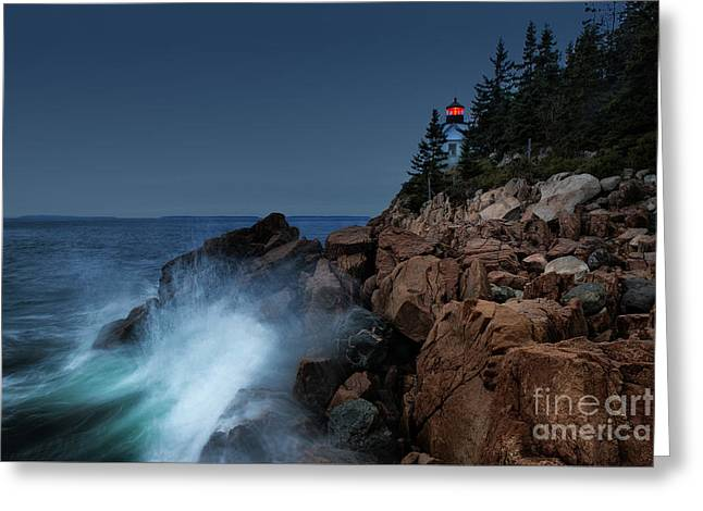 Maine Shore Greeting Cards - Bass Harbor Lighthouse Greeting Card by John Greim