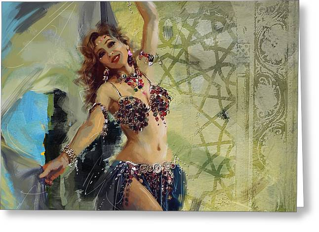 Dancer Art Greeting Cards - Abstract Belly Dancer 13 Greeting Card by Corporate Art Task Force