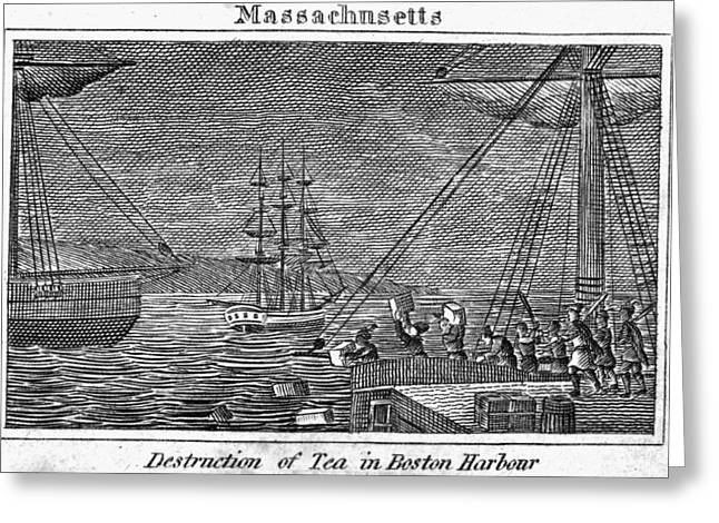 Overboard Greeting Cards - Boston Tea Party, 1773 Greeting Card by Granger
