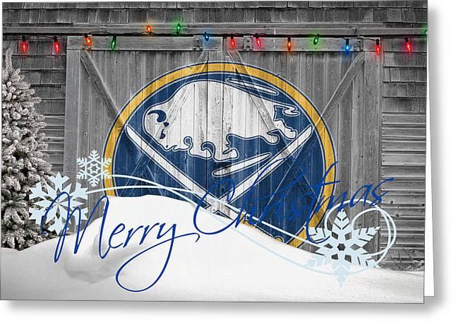 Santa Greeting Cards - Buffalo Sabres Greeting Card by Joe Hamilton